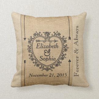 Lesbian Fancy Burlap Anniversary Date Heart Throw Pillow