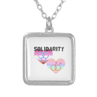 Lesbian Gay Solidarity Silver Plated Necklace