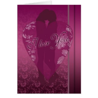 Lesbian I love You Card, With Female Silhouette Greeting Card