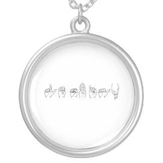 Lesbian in Sign Language Necklace