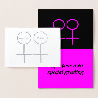 Lesbian Lovers Personalized Foil Card
