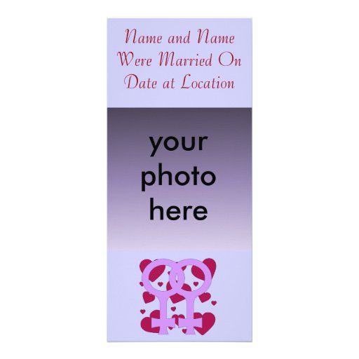 Lesbian Marriage Hearts Personalized Rack Card