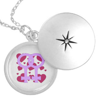 Lesbian Marriage Hearts Round Locket Necklace
