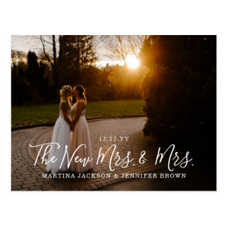 Lesbian Newlyweds Mrs. and Mrs. Photo Thank You Postcard