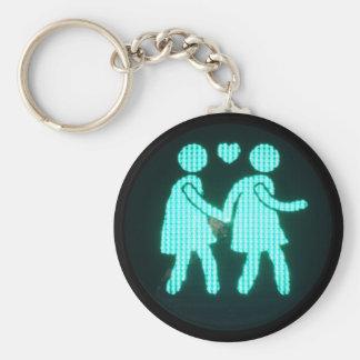 Lesbian Pedestrian Signal Keychain (Button Style)