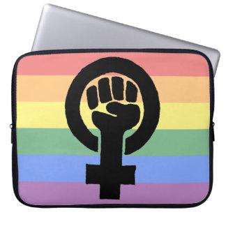 Lesbian Pride Feminist Fist Faded Rainbow Laptop Sleeve