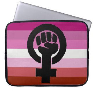 Lesbian Pride Flag Feminist Fist Laptop Sleeve