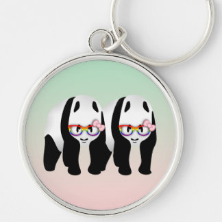 Lesbian Pride Pandas Wearing Rainbow Glasses Silver-Colored Round Keychain
