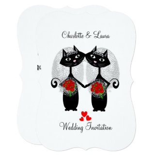Lesbian Same-Sex Marriage Cool Cats Wedding Card
