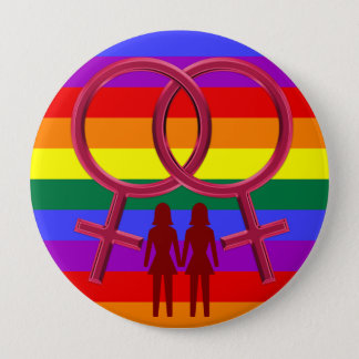 Lesbian Symbols Two Woman Holding Hands Button