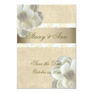 "Lesbian Wedding Save the Date White Roses & Bling. 3.5"" X 5"" Invitation Card"