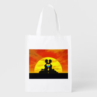 Lesbian yoga love - 3D render Reusable Grocery Bag