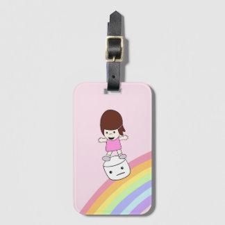 Lesley Surfs Rainbow w Marshmallow Luggage Tag