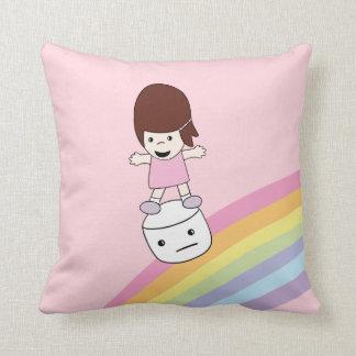 Lesley Surfs Rainbow w Marshmallow Throw Pillow