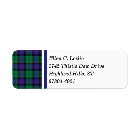 Leslie Clan Royal Blue and Green Scottish Tartan