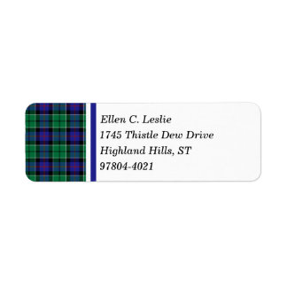 Leslie Clan Royal Blue and Green Scottish Tartan Return Address Label