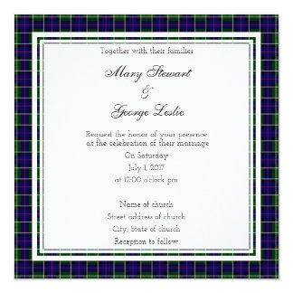 Leslie Scottish Wedding Square Invitation