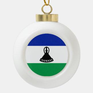 Lesotho Flag Ceramic Ball Christmas Ornament