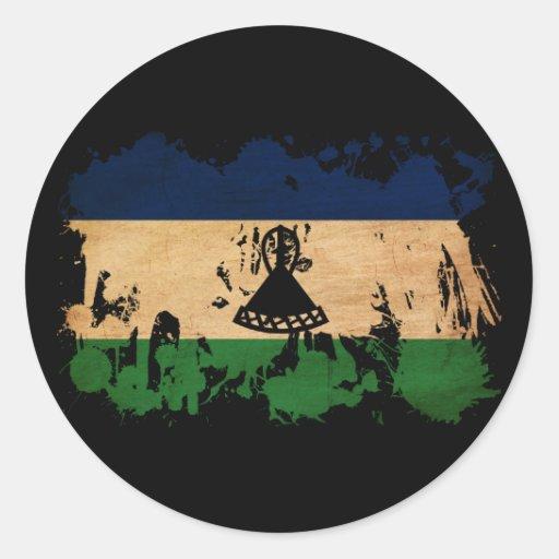 Lesotho Flag Round Sticker