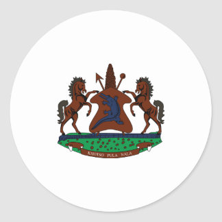 Lesotho Official Coat Of Arms Heraldry Symbol Round Stickers