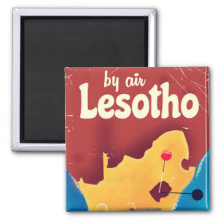 Lesotho Vintage travel flight poster Magnet