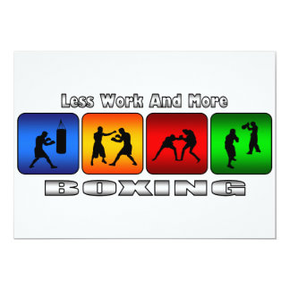 """Less Work And More Boxing 5"""" X 7"""" Invitation Card"""