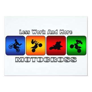 """Less Work And More Motocross 5"""" X 7"""" Invitation Card"""