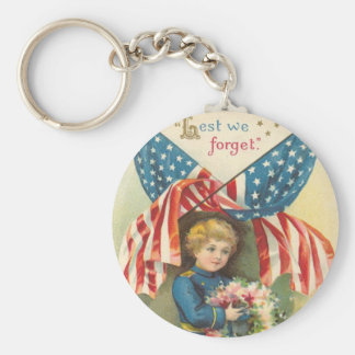 Lest We Forget Memorial Day Basic Round Button Keychain