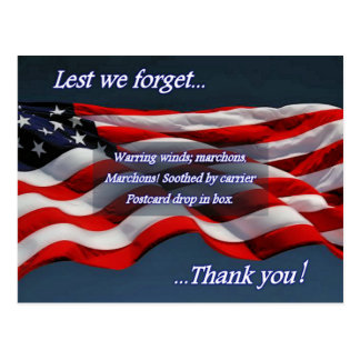 Lest We Forget...Thank You Postcard