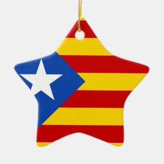 """""""L'Estelada Blava"""" Catalan Independence Flag Ceramic Star Ornament"""