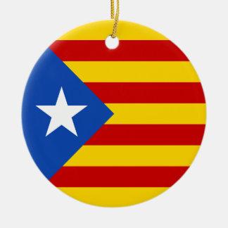 """""""L'Estelada Blava"""" Catalan Independence Flag Round Ceramic Ornament"""