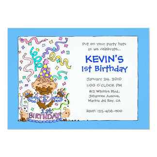 Let 'Em Eat Cake - 1st Birthday for Baby Boy Card