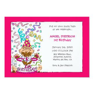 Let 'Em Eat Cake - 1st Birthday for Baby Girl Card
