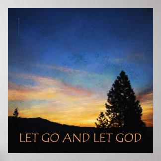 Let Go and Let God Blue Orange Sunrise Print