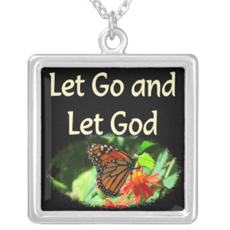 LET GO AND LET GOD BUTTERFLY DESIGN SILVER PLATED NECKLACE