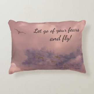 Let go of your fears and fly Clouds and Birds Decorative Pillow