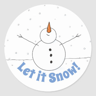 """Let is Snow"" Happy Snowman Classic Round Sticker"