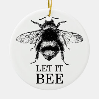 Let It Bee Vintage Nature Bumble Ceramic Ornament