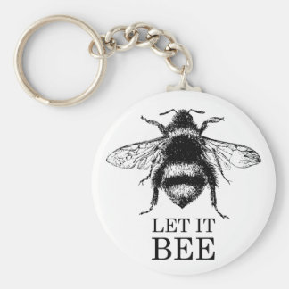 Let It Bee Vintage Nature Bumble Bee Keychain