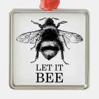Let It Bee Vintage Nature Bumble Bee Metal Ornament