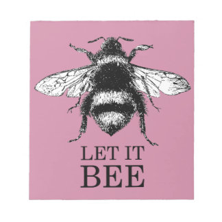 Let It Bee Vintage Nature Bumble Bee Notepad