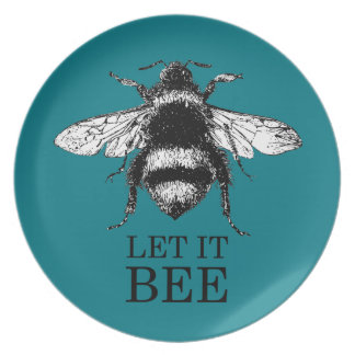 Let It Bee Vintage Nature Bumble Bee Plate