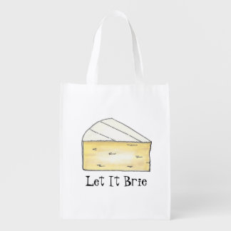 Let It Brie Cheese Wedge Foodie Tote Reusable Grocery Bag