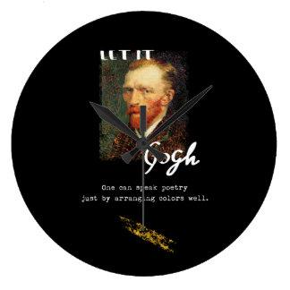 Let It Gogh Vincent Van Gogh Quote Saying Portrait Large Clock