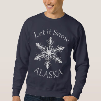 Let it Snow Alaska Mens Navy Blue Sweatshirt