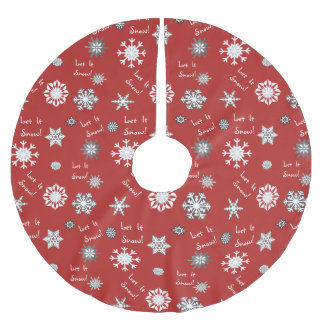 Let It Snow Background Color Choice Brushed Polyester Tree Skirt