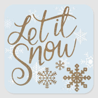 Let it Snow Blue and Gold Christmas Stickers