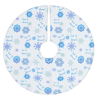 Let It Snow Blue Color Choice Background Brushed Polyester Tree Skirt