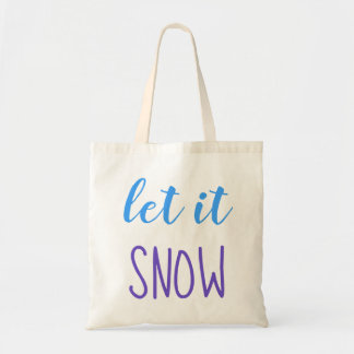 Let it Snow Blue & Purple Typography Tote Bag