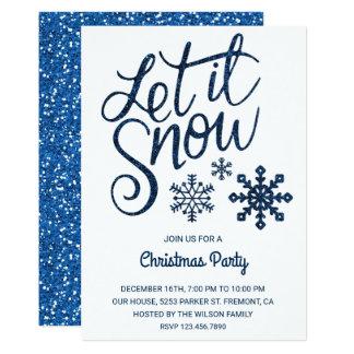 Let it Snow | Blue Sparkle Christmas Party Invite
